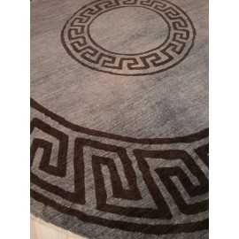 Afghan Chobi Handmade Carpet In Round Shap In Grey Color 8x8 sq ft