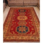 Super Afghan Kazak Handknotted Carpet In Red 6.5x10 Sq Ft