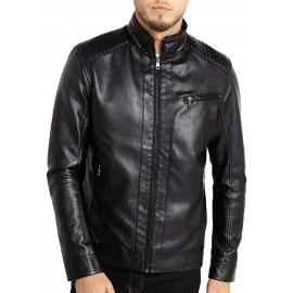 Men's Stand Collar Leather Jacket Motorcycle