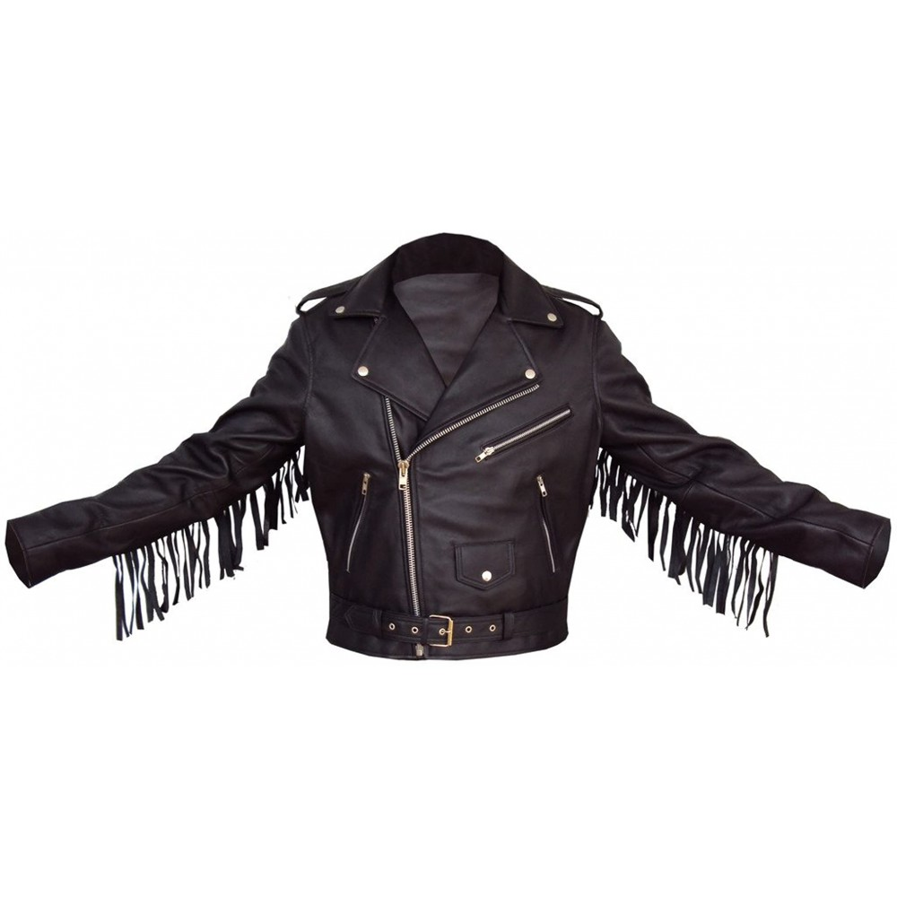 Men's Black Fringe Tasseled Genuine Lambskin Leather Jacket
