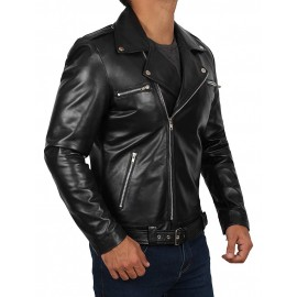 Top Man Motorcycle Real Leather Jacket In Black