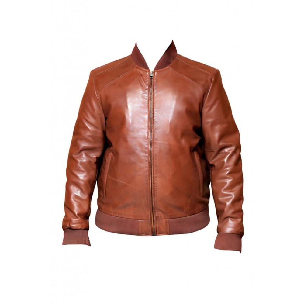 Bomber Real Leather Jacket In Tan Color