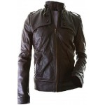 Biker Bro- Leather Jacket in Brown Color For Men, Hand Stitched