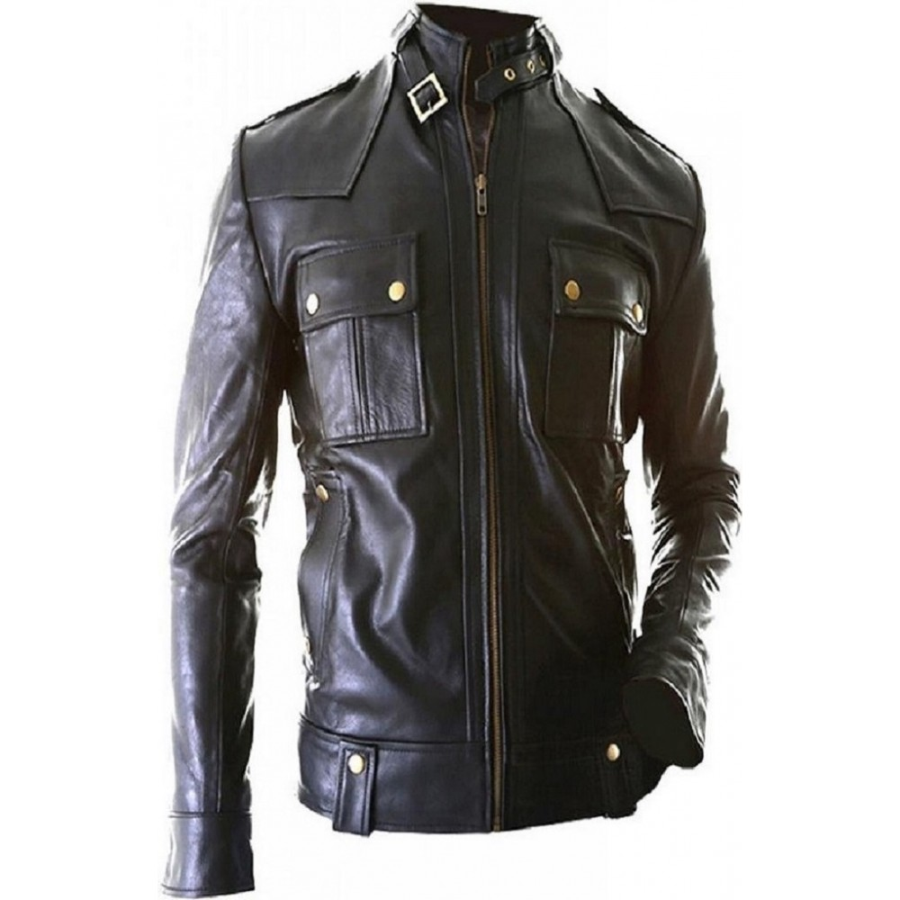 Dude Biker Men Real Leather Jacket In Black