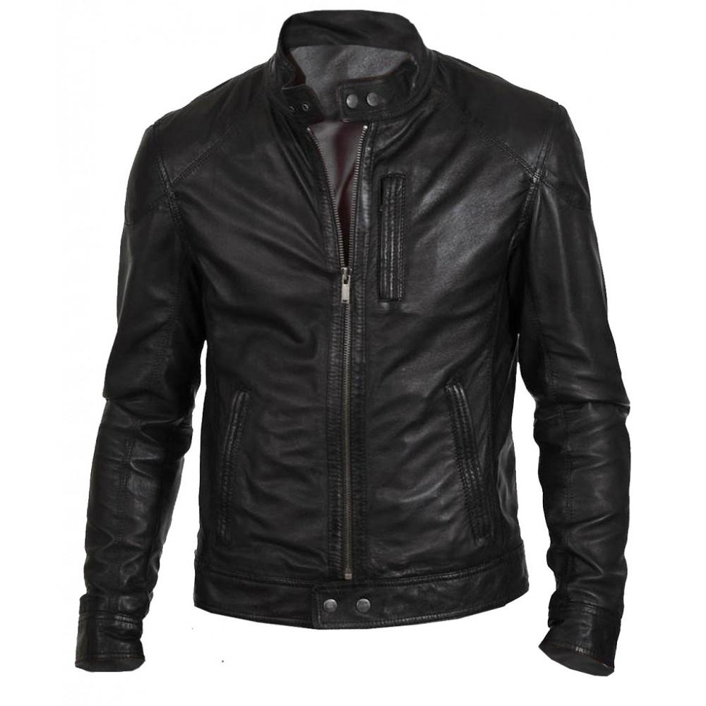 Biker Hunt Mens Real Leather Black Jacket
