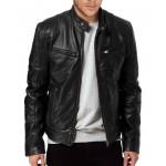 Sword Men Biker Black Leather Jacket