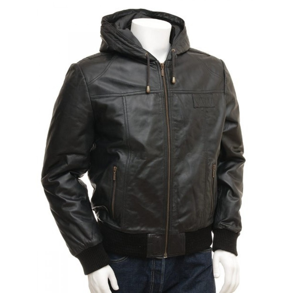 Marcus Men's Genuine Leather Hooded Bomber Jacket Small Size