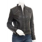 Ciana- Biker Real Leather Jacket in Black