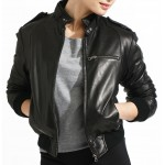 Venni- Bomber Jacket In Lambskin Leather In Short Stand Collar