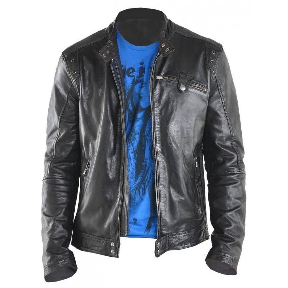 NYC Top Grade Real Lambskin Leather Jacket in Biker Style