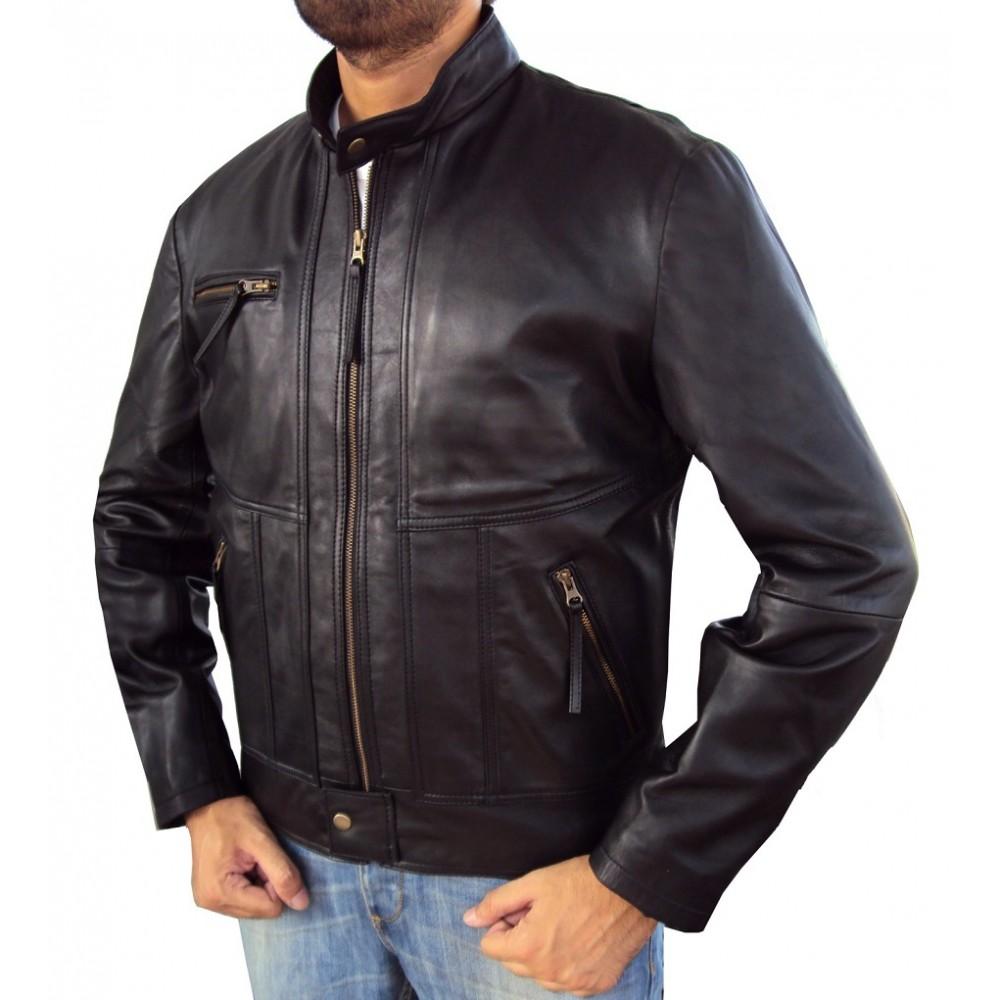 Vanni Biker Leather Jacket In Black New Stylish Designing