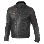 Mens New Vintage Marc Real Lambskin Leather Jacket In Black