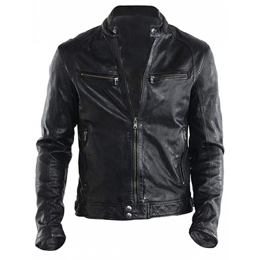 Top Racer Real Leather Biker Jacket In Black