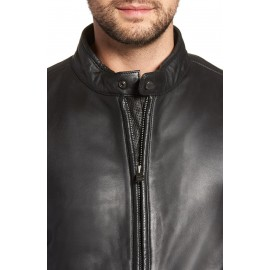 Mens Black Leather Moto Jacket