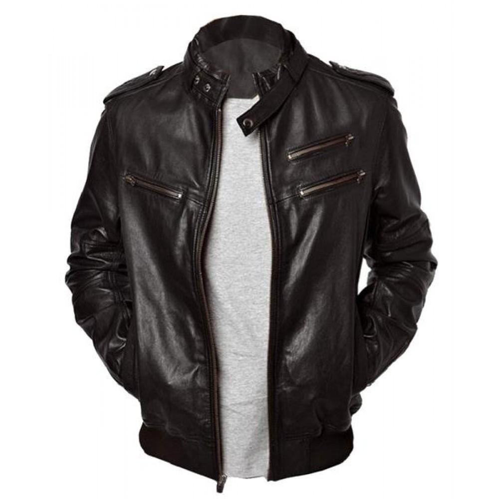 Enzo Bomber Men's Real Leather Jacket In Black